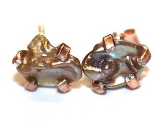 Keshi Pearl Earring Pondslime Earring Natural Pearl Stud Keshi Pearl Jewelry Rose Gold Modern Jewelry Keshi Earring Wedding Stud Earring