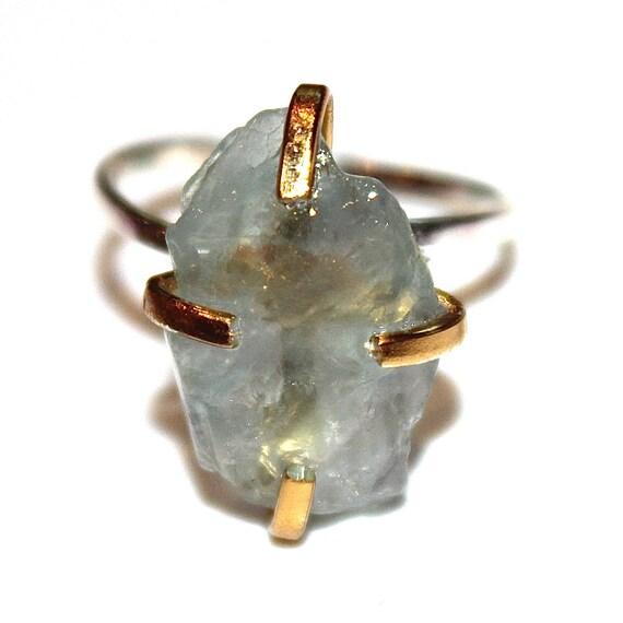 Blue Fluorite Shard Ring in Mixed Metal