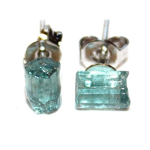 Tiny Raw Blue Tourmaline Crystal Earrings