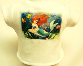 My Little Mermaid Theme Silver Glitter Transfer T-Shirt For 16 or 18 Inch Dolls Like The American Girl Or Bitty Baby