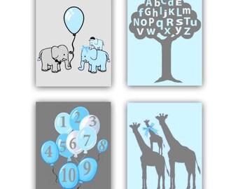 Safari Nursery Decor, Elephants Family Art, Giraffe Family, SET 4, Letters & Numbers, Nursery Wall Art, Zoo Nursery Art, Animals Nursery Art