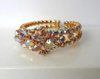 Vintage TRIAD Cuff Bracelet Aurora Borealis - STUNNING
