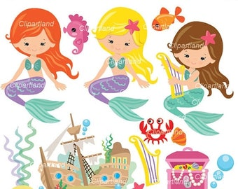 ON SALE INSTANT Download. Mermaids clip art. Cm_70. Personal and commercial use.