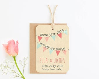 Rustic bunting save-the-date - coral peach mint