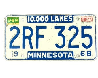 Vintage License Plate - Distressed Minnesota Plate - Blue and White - Minnesota Decor - ManCave Decor - Rustic Home Decor - Car Lover Gift