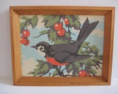 vintage paint by number bird scene - Robin - cherry tree - bird painting - wildlife painting - outdoor scenery - cabin decor - cottage decor
