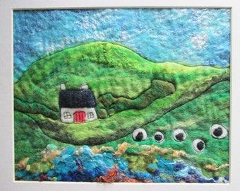 textile art, felted picture, Naive landscape