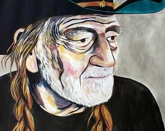 Original Willie Nelson Painting by Natalie Jo Wright Portrait Art