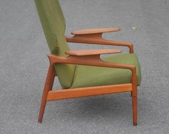 1950s Danish teak high back recliner