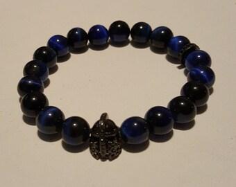 Blue Tiger Eye Warrior Men's Bracelet
