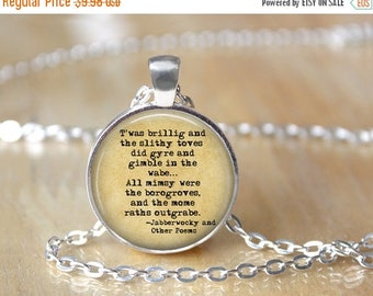 SUMMER SALE Jabberwocky Necklace - Book Necklace - Lewis Carroll Necklace - Jabberwocky Poem - Alice in Wonderland - Literary Jewelry 138