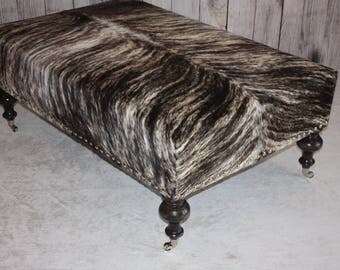XXL Tan / Black Brindle Cowhide Ottoman