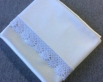 pure silk charmeuse pillowcase , cotton back, with guipure lace edging (single)