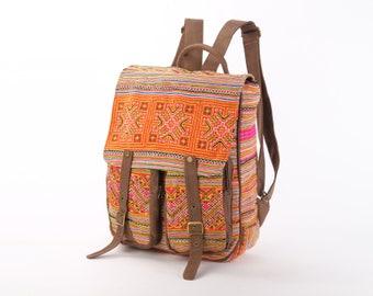 Southwestern Rucksack Square Backpack Ethno Hmong Student Bag Travel Backpack