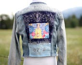 RESERVED Frida Women's Vintage Jean Jacket Upcycled Funky Boho Denim Top  Reconstructed Ralph Lauren Chambray Shirt
