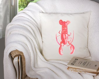 lobster decor - lobster throw pillow - nautical throw pillow - nautical decor  - decorative throw pillow . throw pillow with words -