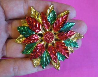 Vintage Poinsettia Brooch / Pin / Poinsettia Jewelry / Christmas Brooch / Pin / Christmas Jewelry / Red Brooch / Pin / Flower Brooch / Pin