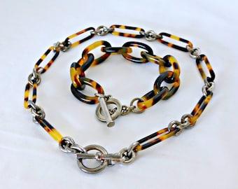 Classic Vintage Lucite Faux Tortoise Shell Chain Link Necklace and Bracelet Set