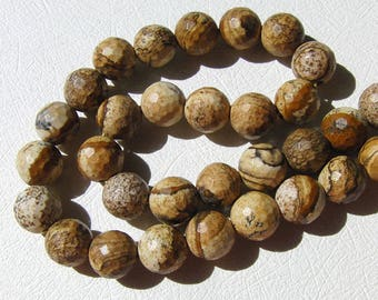 5pc stone - Jasper balls 10mm faceted wood beads