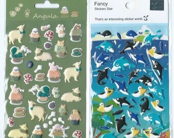 Japanese/ Korean puffy sticker (Pick 1) - Lambs and Cupcakes or Ocean Whales