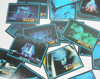 ON SALE Tron Trading Cards. Flynn and Tron Outsmart  Master Controller While Riding Light Cycles on The Grid. Unforgettable Science Fiction