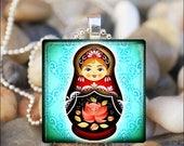 10% OFF JUNE SALE : Russian Nesting Doll Matryoshka Babushka Russian Stacking Dolls Glass Tile Pendant Necklace Keyring - Aqua Color