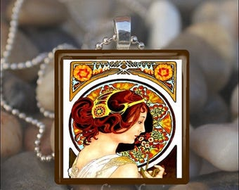 10% OFF JUNE SALE : Primula Alfons Alphonse Mucha Art Nouveau Deco Glass Tile Pendant Necklace Keyring