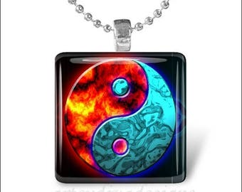 10% OFF JUNE SALE : Firewater Ying Yang Fire Water Glass Tile Pendant Necklace Keyring