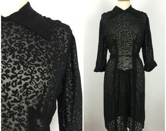 Vintage 1920s Dress - 20s Sheer Black Tulle Tea Dress - Formal Evening dress - Floral - Medium / Large - UK 14-16 / US 10-12 / EU 42-44