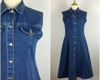 Vintage 1990s Denim Dress - 90s Blue A Line Button Down Midi Dress - Shift Dress -  Small - UK 10 / US 6 / EU 38 -