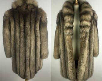 Vintage Pepin Designer Fox fur Coat - 1980s Smokey fox Fur Jacket - 80s fur Jacket - Thick Fur Pelts - Medium - UK 12 / US 8 / EU 40
