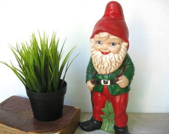 "Vintage Garden Room Gnome Pixie 12-3/4"" Tall Hand Painted Ceramic Christmas Red and Green Elf Plaster Statue"