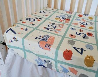 Organic Crib Sheet, Organic Toddler Sheet, Organic Fitted Crib Sheet, Farm Animal Crib Sheet, Farmstead, Farm Animals, Organic Baby Bedding