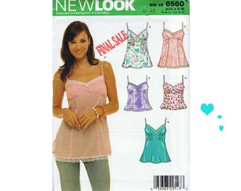 New Look 6560 Misses' Spaghetti Strap Top Sewing Pattern Summer Pattern