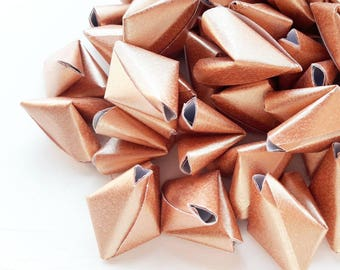 50 large metallic rose gold origami heart love messages - wedding - Free shipping - unique wedding favour - wedding decor - rose gold favour