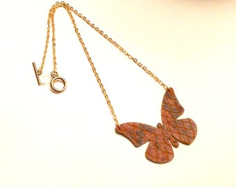 Necklace cognac way snake leather on gold chain toggle clasp