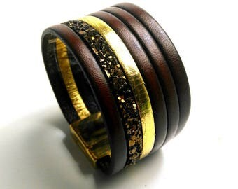 cuff cognac leather gold clasp and glittery gold