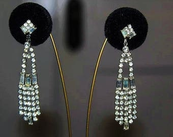 Vintage Designer Couture High End Iced Diamante Crystal Rhinestone Earring E16