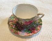 Vintage Grafton bone China Azalea pattern cup and saucer