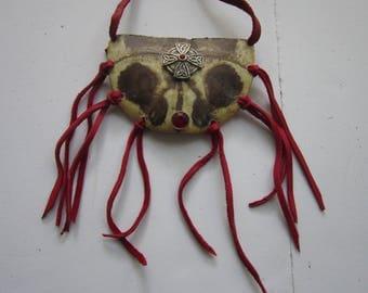 Turtle Shell Breastplate Necklace w/ Celtic Cross, Crystal Rivets & Buckskin Leather Jewelry Statement N85