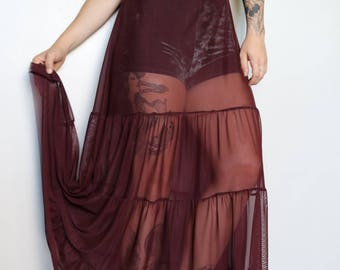 Wine Maxi Mesh Embroidered Dress
