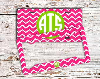 Preppy monogrammed license plate or frame Hot pink chevron lime green Personalized vanity car tag - Cute monogram bike license plate (9702)