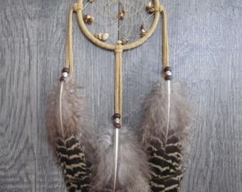 CLOSING OUT SALE Dream Catcher Buckskin Suede with Black and Tan Peacock Feathers