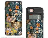 Floral Sugar Skull iPhone 7 and iPhone 8 Card holder Case - Bali Botaniskull - Credit Card Case for Apple iPhone 7 and 8 with Rubber Sides