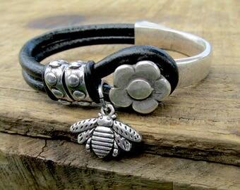 Leather Bracelets for Women - Women's Bracelets - Leather Jewelry - Women's Leather Bracelet - Statement Bracelet - Flower Bracelet - WL106