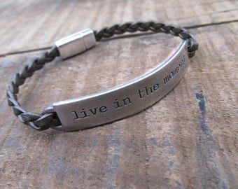 Metallic Brown Leather Bracelet - Inspirational Bracelet - Leather Bracelet - Quote Bracelet - Leather Jewelry - Boho Bracelet - UL1219MB