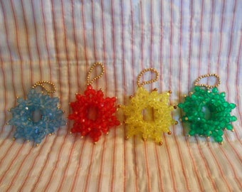 Four Hand Made Vintage Beaded Christmas Ornaments