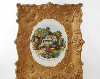 ON SALE Currier & Ives, American Homestead Summer, Ceramic wall Hanging, Gold, Cottage Chic, Vintage, Yozie Mold, Frame, Art, Collectibles