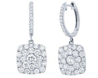 14k White Gold Dangle Drop Earrings 150-479