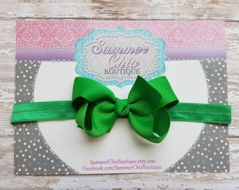 Green Headband, Baby Headband, Bow Headband, Baby Headbands, Infant Headband, Newborn Headbands, Emerald Green Baby Headband